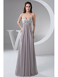 Formal Evening Dress-Silver A-line Sweetheart Floor-length Chiffon