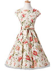 50s Era Vintage Style Cap Sleeves Rockabilly Dress Cosplay Costume Cream Floral (with Petticoat)