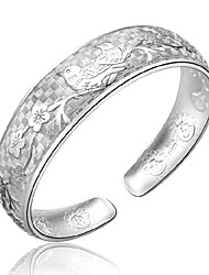 Women's Bracelet Sterling Silver Plated Chinese Bird Flower Pattern Cuff Bracelet Wedding Bride
