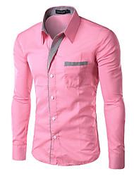 Menn Langermet Skjorte Bomull / Polyester Arbeid / Formelt Ensfarget