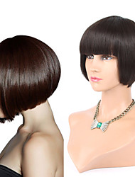 "8""Short Cut Bob Full Machine Made Lace Human Hair Wig With Bangs Natural Color Short Straight Mono Top Wig"