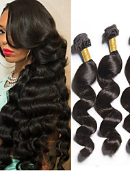 pelo virginal peruano 4pcs suelta el pelo humano de la onda del pelo teje 8-26 pulgadas venta caliente negro natural.