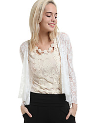 Women's White Jackets , Casual/Lace Long Sleeve
