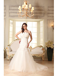 Trumpet / Mermaid Wedding Dress Chapel Train Strapless Satin / Tulle with Appliques / Beading / Draped