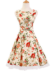 50s Era Vintage Style Sleeveless Rockabilly Dress Audrey Hepburn Cosplay Costume Cream Floral (with Petticoat)