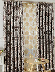Two Panels Modern Toile Living Room Polyester Blackout Curtains Drapes