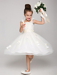 A-line Tea-length Flower Girl Dress - Tulle Sleeveless Square with
