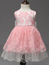 Girl's Pink / White Dress,Lace Polyester Summer