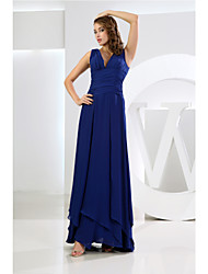 Floor-length V-neck Bridesmaid Dress - Elegant Sleeveless Chiffon
