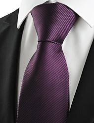New Striped Plum Purple Men's Tie Formal Suit Necktie Wedding Holiday Gift #0024