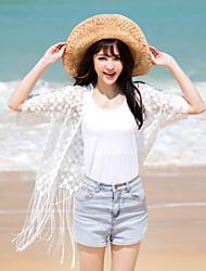 Women's Beach Boho / Street chic Summer Shirt,Solid V Neck ½ Length Sleeve White Rayon / Polyester Thin