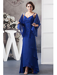 Sheath/Column Mother of the Bride Dress-Ocean Blue Asymmetrical Chiffon
