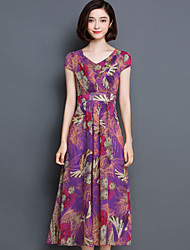 Damen Kleid-Hülle Retro Druck Maxi Seide V-Ausschnitt