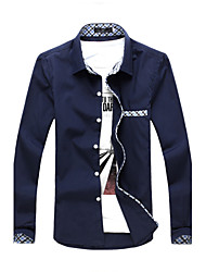 High Quality Men's Long Sleeve Slim Formal Business Dress shirt,Cotton / Polyester Casual / Work Solid