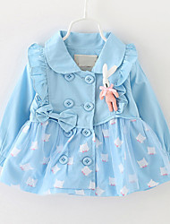 Girl's Blue / Pink / Yellow Trench Coat,Print Cotton / Polyester Winter / Fall