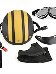 Helmet, Motorcycle Helmet, Yellow + Protection Visor + Goggle
