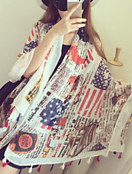 Stars And Stripes Car Pattern Twill Silk Shawl By Hand Printing Cotton Scarf Sunscreen Scarves