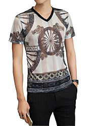 Men's Casual Slim V Collar Silk Printed T-Shirt ,Cotton / Polyester Casual / Plus Sizes Print