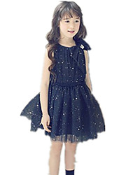 Girl's Round Collar Mesh Stitching Big Bow Sequins Tutu Dress(Tulle & Cotton)