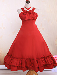Steampunk®Cotton Red Ruffles Classic Lolita Dress