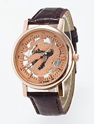 Men's Skeleton Wrist Watch Quartz Watch Rose Gold Dragon Dial Black And Coffee color Pu Band Imitation Mechanical Watch
