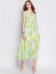 Women's Sexy / Boho Floral Chiffon / Swing Dress,Halter Midi Rayon