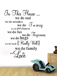 House Rule Wall Sticker Black Pegatinas De Pared Character Child Bedroom Decor Aesthetic English House Rule Wall Sticker
