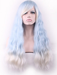Europe and the United States Wig Corn Light Blue Gradient Meters White Iron Staining Synthetic Wig.