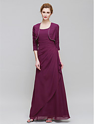 Lanting Bride® Sheath / Column Mother of the Bride Dress Ankle-length 3/4 Length Sleeve Chiffon with Side Draping