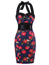 Women's Pencil Skirt Royal Blue Strawberry Print Floral Dress , Big Buttons Vintage Halter 50s Rockabilly Swing Dress
