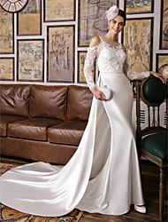 Lanting Trumpet/Mermaid Wedding Dress-Ivory Court Train Jewel Lace / Satin