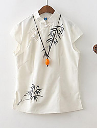 Women's Floral White Blouse,Stand Short Sleeve