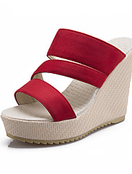 Women's Shoes Leatherette Wedge Heel Wedges Sandals Casual Black / Pink / Red