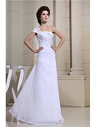Formal Evening Dress Sheath / Column One Shoulder Floor-length Chiffon with Beading / Side Draping