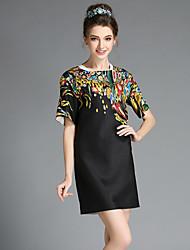 aofuli verão plus size mulheres cópia elegante do bloco da cor do vintage vestido de manga curta