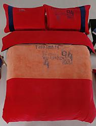 conjunto de funda de edredón de franela de 4 piezas de alta calidad, conveniente para el invierno, la reina / king size