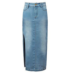 Women's Solid Blue Skirts,Street chic Midi