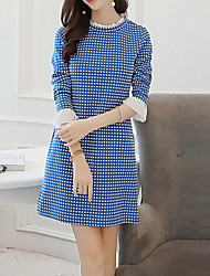 Women's Vintage Plaid / Patchwork A Line Dress , Stand Above Knee Polyester / Spandex