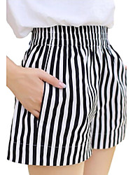 Women's Striped White Shorts / Wide Leg Pants,Casual / Day / Beach