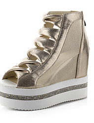 Women's Spring / Fall Wedges Tulle / Leatherette Casual Wedge Heel Others Black / Silver / Gold
