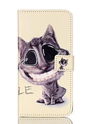 Cat Pattern PU Leather Case with Card Slot and Stand for iPhone 7 7plus 6s 6 Plus SE 5s 5