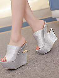 Women's Shoes Synthetic Wedge Heel  Peep Toe  Sandals Party & Evening / Dress Silver / Gray / Gold