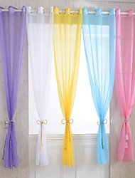 W100cm*L214cm,One Panel Grommet Top Multicolour Polyester Sheer Curtains Shades