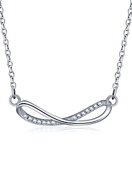 925 Sterling Silver Jewelry High Quality Necklace Pendant with Cubic Zirconia Setting Female Clavicle Chain
