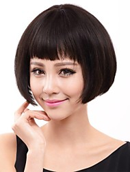 European and American Fashion High-Grade BoBo Straight Hair Natural Black Human Hair Wig