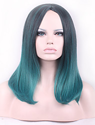 Europe and the United States Harajuku COS Black Gradient Green Long Wig in the Cosplay Anime