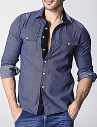 Camisa De los hombres Bloques Casual-Algodón-Manga Larga-Negro / Azul