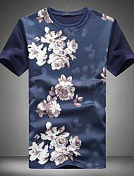 Men's Fashion Chinese Style Print 100% Polyester Slim Fit Short-Sleeve T-Shirt