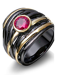 New Women Fashion rings Brand new Black Gold Plated Red Cubic Zirconia Ring