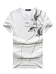 2016 new summer wind Chinese men V cotton short sleeved T-shirt collar half sleeve slim Korean youth jacket tide